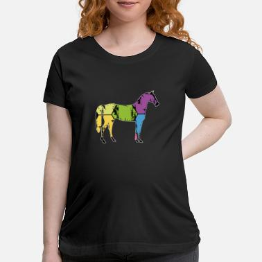 Pony Stall Horse Pony Stall Animal Horseshoe Saddle Gift - Maternity T-Shirt