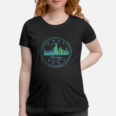 City product Illinois CIty Skyline of Chicago Gifts - Maternity T-Shirt