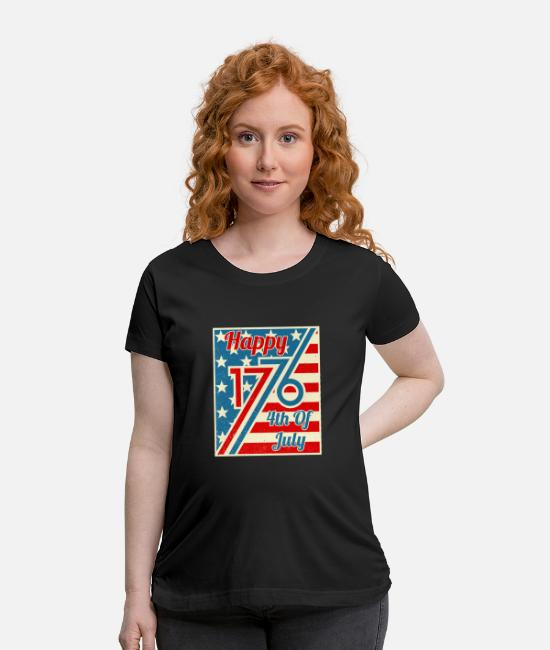 Funny 4th Of July T-Shirts - Happy 4th Of July 1776 Independence Day - Maternity T-Shirt black