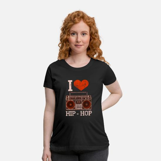 Hip Hop T-Shirts - I Love Hip Hop - Maternity T-Shirt black