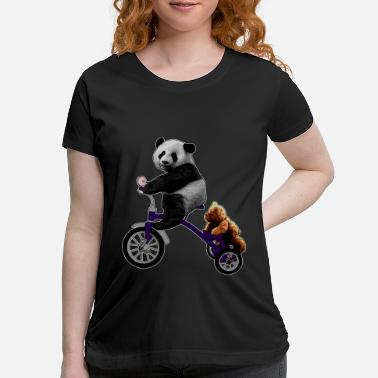 Tricycle panda bear on tricycle with teddy - Maternity T-Shirt