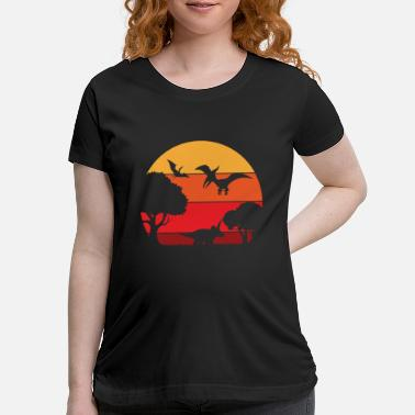 Dinosaur Landscape and Retro Vintage Sunset In - Maternity T-Shirt