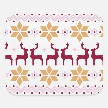 Poinsettia pattern and reindeer pattern  - Mouse Pad