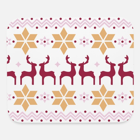 Christmas Mouse Pads - Poinsettia pattern and reindeer pattern  - Mouse Pad white