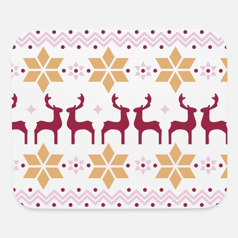 Christmas Mousepads  - Poinsettia pattern and reindeer pattern  - Mouse Pad white