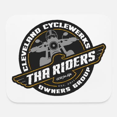 Tha Riders Cog Logo Black Background Design - Mouse Pad