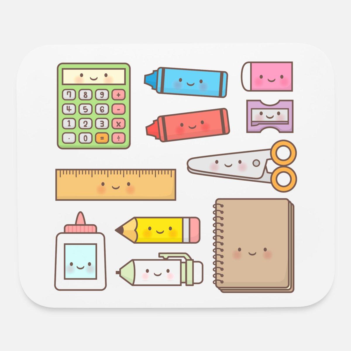 Back to school kawaii. Supplies mouse pad horizontal