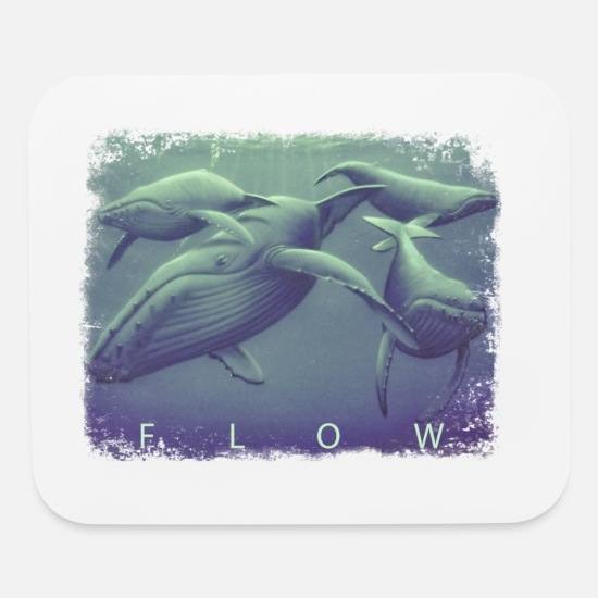 Whale Mouse Pads - FLOW WHALES - Mouse Pad white