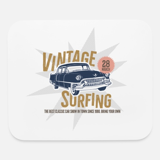 Motor Mouse Pads - Cars - Automobile - Vintage Surfing Muscle Car - Mouse Pad white