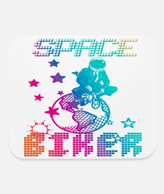 Bitch Mouse Pads - SPACE BIKER, motorcycle, bicycle, bike, funny - Mouse Pad white