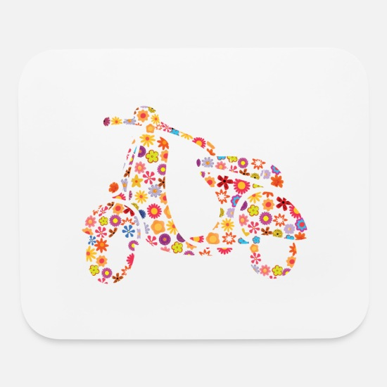 Biker Party Mouse Pads - Motor Scooter Flower Pattern - Mouse Pad white
