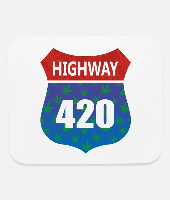 Rocker Mouse Pads - Highway 420 Weed Pot THC cannabis gift idea - Mouse Pad white