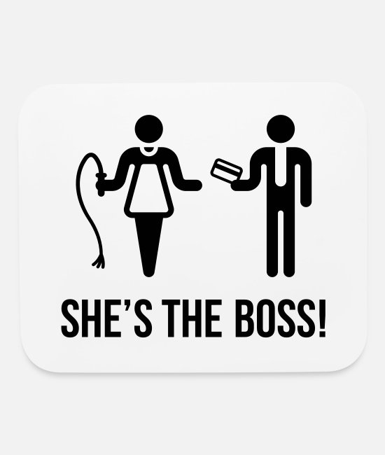 Husband Mouse Pads - She's The Boss! (Wife & Husband) - Mouse Pad white