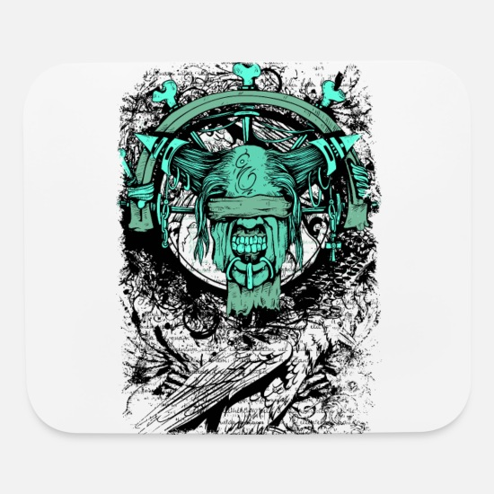 Horror Mouse Pads - Horror Demon Scary Occult Monster Gothic Gift - Mouse Pad white