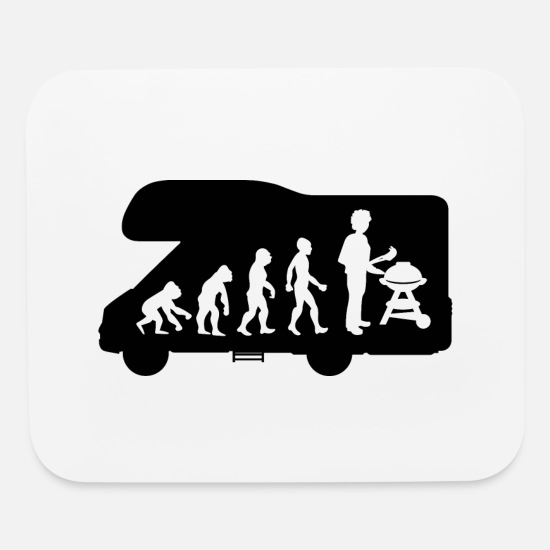Hot Dog Mouse Pads - Evolution Camper Camping Caravan BBQ Barbecue - Mouse Pad white