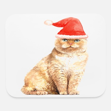 Animals Yellow Cat red hat - Mouse Pad