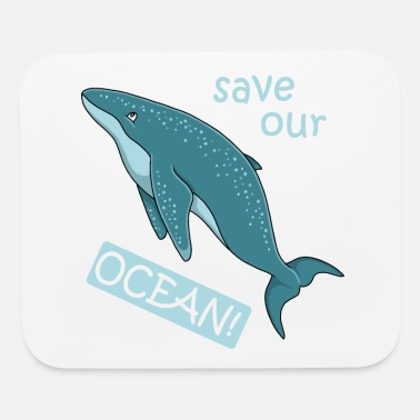 Humpback whale save our ocean illustration cartoon - Mouse Pad