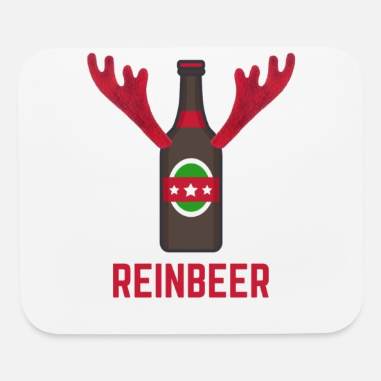 Brewery Mouse Pads - Funny Christmas Reinbeer Reindeer Beer Bottle - Mouse Pad white