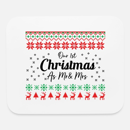 Ugly Mouse Pads - Our first Christmas as mr and mrs present - Mouse Pad white