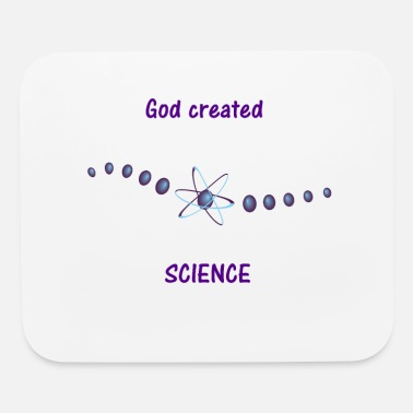 Space Jesus God Created Science Creation Atom T-Shirt - Mouse Pad