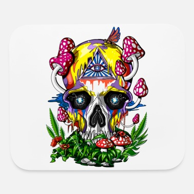 Hippie Festival Psychedelic Skull Magic Mushrooms Hippie Festival - Mouse Pad