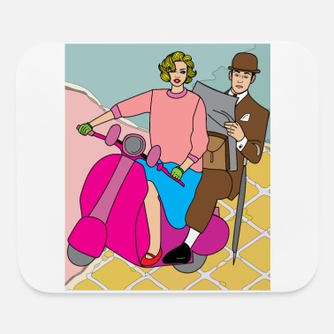 Motorcycle Couple Retro Motorsport Motorcycle And Couple - Mouse Pad