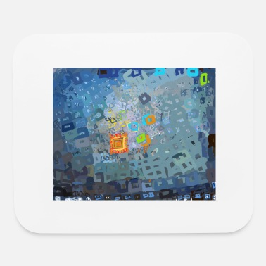 spreading blue square abstract - Mouse Pad