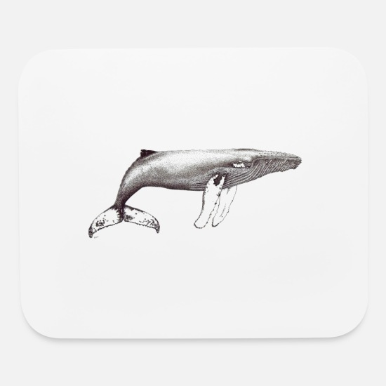 Whale Mouse Pads - Humpback whale ink black and white - Mouse Pad white