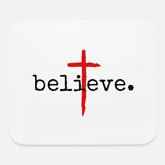 Christian Mouse Pads - Believe Christian Cross Design - Mouse Pad white