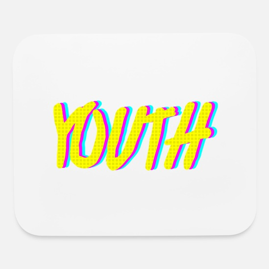 Aesthetic Mouse Pads - Youth Neon Retro Graphic - Mouse Pad white