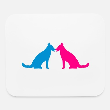 Merrily 2 friends couple couple love team seat sitting dog - Mouse Pad