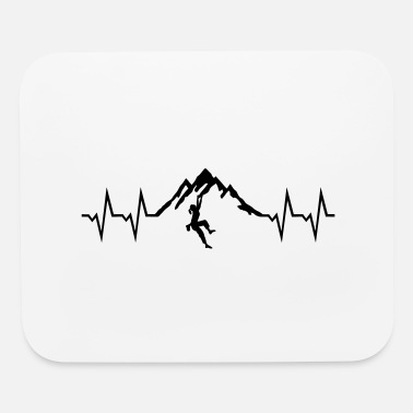 Heart Rate Climbing woman - Heartbeat and Mountain - Mouse Pad