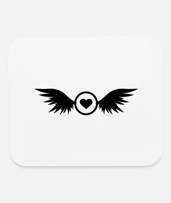 Heart Mouse Pads - circle heart with wings - Mouse Pad white