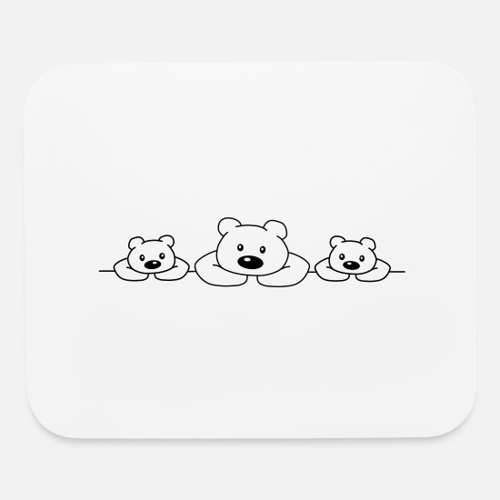 Polar Bear Mouse Pads - 3 Bears - Mouse Pad white
