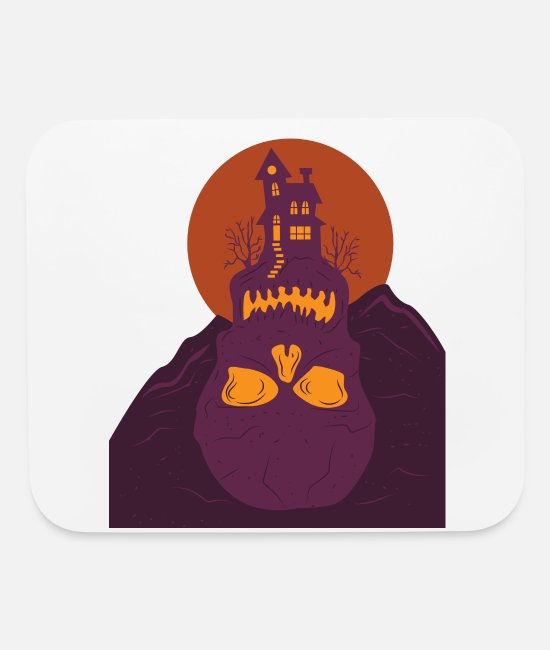 Mountains Mouse Pads - Villa House Halloween Skull Skull Mountain - Mouse Pad white