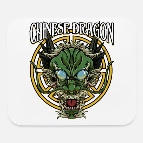 Cool Chinese Dragon Head China Mythology Gift Idea Mouse pad Horizontal -  white