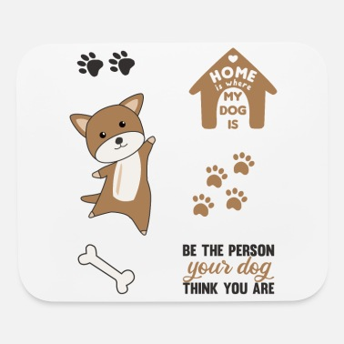 Set Dog Brown Puppy Paws Cute Sticker Pack - Mouse Pad