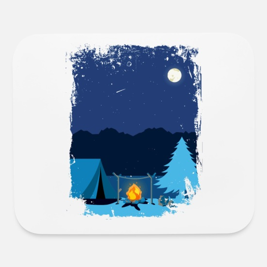 Campfire Mouse Pads - Camping Tent in Moonlight with Campfire - Mouse Pad white