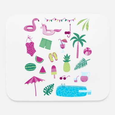 Flamingo Popsicle Swimming Pool Party - Mouse Pad