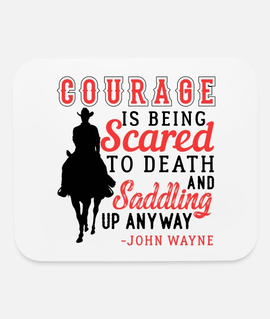 Western Mouse Pads - Courage Saddle Up Horse Cowboy - Mouse Pad white