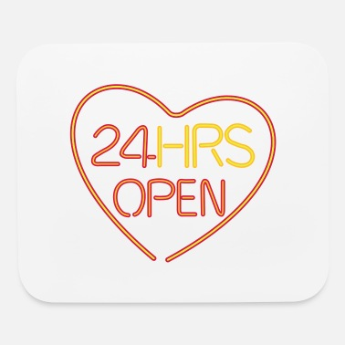 Romantic neon sign: 24 hrs open heart - Mouse Pad