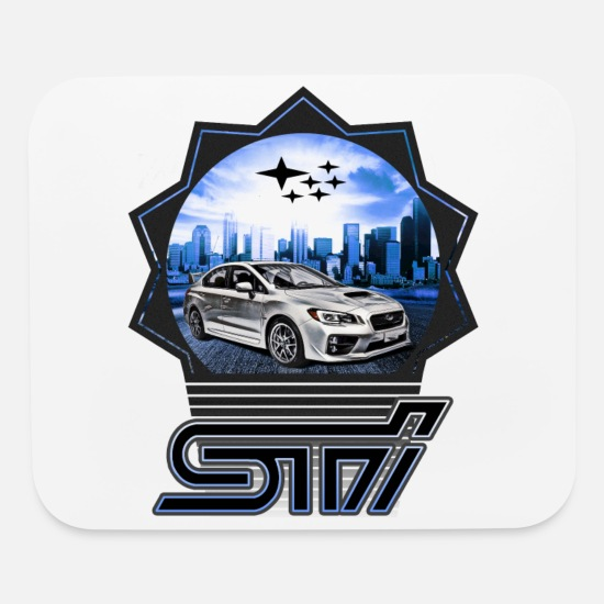 Subaru Mouse Pads - Subaru WRX STI 2015 Car blue - Mouse Pad white