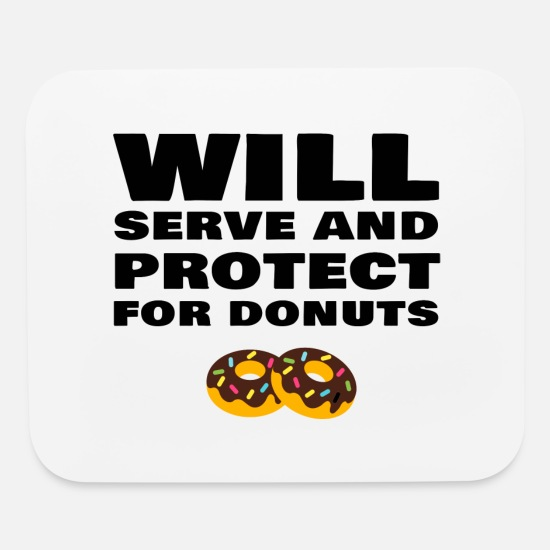 Funny Police Officer Policeman Policewoman Donut Mouse pad Horizontal -  white