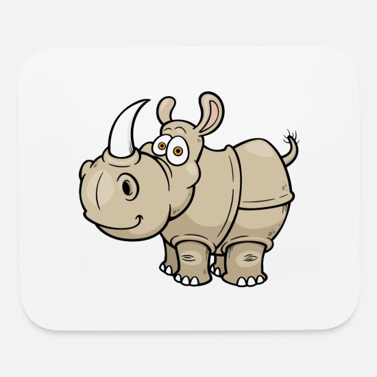 Image Mouse Pads - rhinoceros-wildlife-animal-smiling - Mouse Pad white