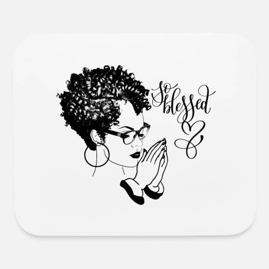 Black Woman Praying Blessed God Quotes Curly Hair Mouse pad Horizontal -  white
