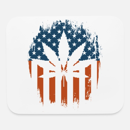 Marijuana Mouse Pads - Pot Leaf American Flag - Mouse Pad white