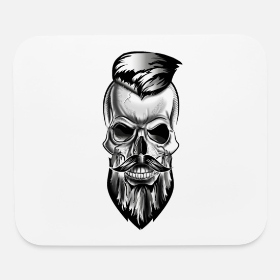 Gift Idea Mouse Pads - Skull in tattoo barbershop style - Mouse Pad white