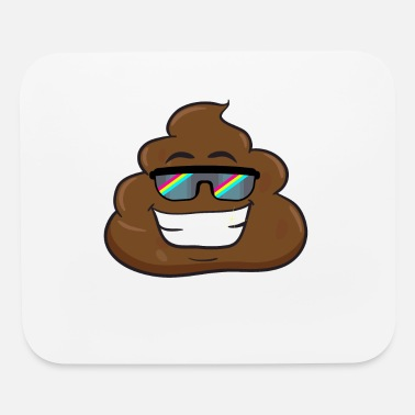 Poop Wear Emoticon Poop Face Big Smile Rainbow Sunglass - Mouse Pad