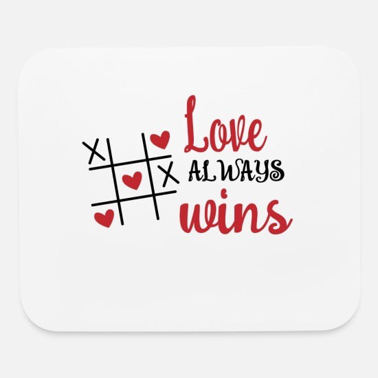 Valentine's Day Mouse Pads - Love always wins - Mouse Pad white