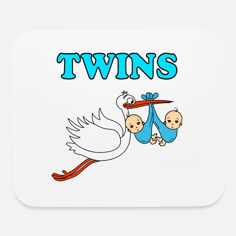 Twins Baby Stork Boys Pregnancy Pregnant Birth Mouse pad Horizontal - white
